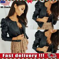Women's Ladies PU Leather Puff Sleeve Coat Cropped Jacket Blazer Bomber Tops