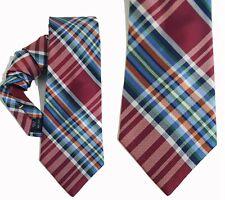 NEW Mens Silk Tie by Nautica Necktie Red Blue White Yellow Sailing Plaid T16