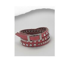 Women's Fashion Pink Leather Multi Wrap Jeweled Bling Bracelet