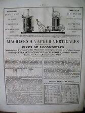 PUBLICITE DE PRESSE MACHINES A VAPEUR VERTICALES HERMANN-LACHAPELLE GLOVER 1866