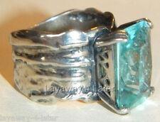 Silpada Aqua Glass Sterling Silver Sz 5 Stunning Artisan Cocktail Ring Israel