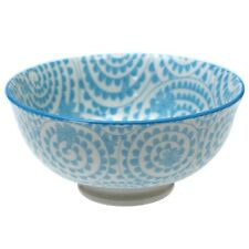 dotcomgiftshop SMALL PORCELAIN JAPANESE BLOSSOM BOWL BLUE SWIRLS DESIGN