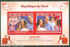 CHAD 2014 BIRTH OF PRINCE GEORGE W/ KATE & WILLIAM SHEET OF TWO IMPERF   MINT NH