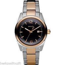 NEW-DKNY TWO,2 TONE ROSE GOLD+SILVER S/STEEL+BLACK DIAL+DATE LADY'S WATCH NY4989