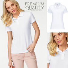 Ladies White Polo Shirt Top Lady Fit Fitted Breathable Cotton Casual Collared UK