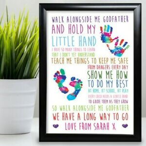 Gift For GodFather Birthday Card gift Framed From Goddaughter Thank You