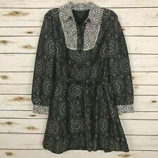 Anna Sui Printed Jacquard Trench Coat Jacket Navy Size 4