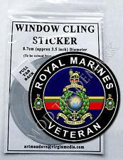 ROYAL MARINES - VETERAN, WINDOW CLING STICKER  8.7cm Diameter