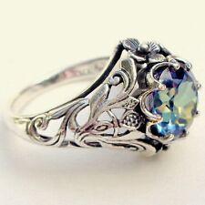 2.3ct Aquamarine Women Vtg Jewelry 925 Silver Wedding Engagement Ring Size 6-10