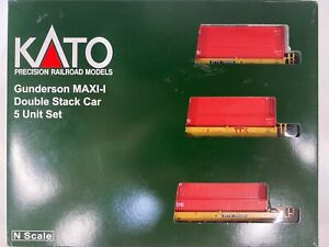 N Scale - Kato TTX Gunderson Maxi-I Double Stack Cars w/ CAI Containers N4146