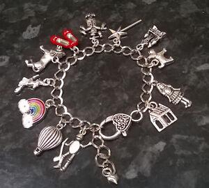 Handmade Wizard of Oz Inspired Loaded Charm Bracelet Ruby Slippers