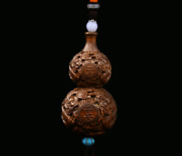 Collect Chinese Box-wood Hand Carving Cloud-dragon Gourd Pingan Amulet Pendant