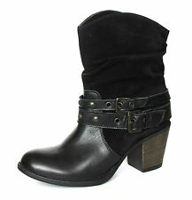 Clarks Women's UK 7 D Medium Black Mexico Ranch Suede/Leather Combi Ankle Boots