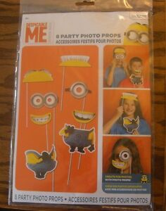 DESPICABLE ME PHOTO PROPS (8) ~ Birthday Party Supplies Decorations Minions Game