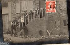 BL332 Carte Photo vintage card RPPC groupe famille escalier