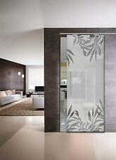 """Glass Sliding Door  """"Leaves"""" Glass 8 mm (940 x 2050 ) with Pull Bar T handles"""