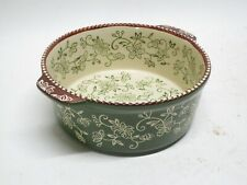 Temptations Hand Painted 6.5 Round Baking Dish 1.5qt Floral Lace Shamrock Green