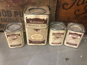 4 MCKESSONS ANTIQUE VINTAGE DRUGGIST PHARMACY APOTHECARY CHEMIST CONTAINERS