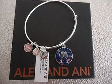Alex and Ani LET'S TOAST Shiny Silver Charm Bangle New W/ Tag Card & Box