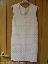 Zara T Shirt Collection Cream Ladies Dress Size S Small NEW (tags) (Ref Z)