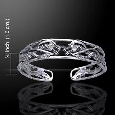 Fearsome Twin Dragon .925 Sterling Silver Bangle Bracelet by Peter Stone