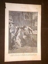 """Illustrazione Teresa Raquin di Émile Zola """"Lorenzo e Tesera col coltello..."""""""