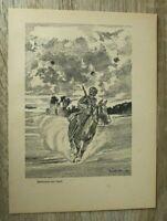Blatt Meldereiter vor Ypern Soldat Pferd Stahlhelm 1940 E Seidel 2. WK WWII