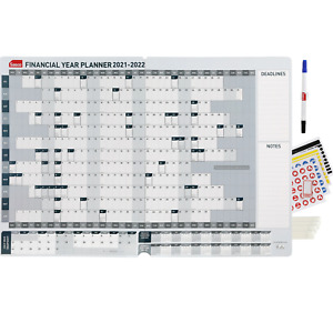 2021 2022 SASCO WALL PLANNER FY FINANCIAL YEAR 870mm x 610mm With Pen Kit