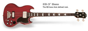 EPIPHONE EB-3 Bass (2 P/U) Cherry Ch Hdwe Bass Electric 4 Strings