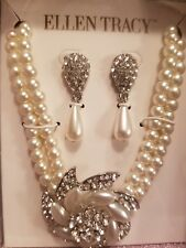 Ellen Tracy Jewelry Set - rhinestone and Crystal Pearls Necklace earrings