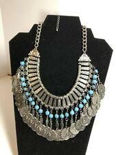 Antique Matte Silver Statement Collar Necklace - A103