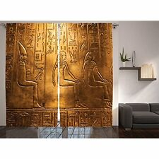 108X84 Inches,Gold Egyptian Decor Collection,Egyptian Hieroglyphics Old Art Rare
