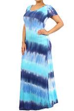 Plus Tie Dye Multi-Color Striped Maxi Dress Summer Long Rayon Jersey