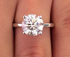 Solitaire Round Cut 0.30ct Natural Diamond 14k White Gold Bridal Ring