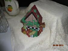 Ceramic Birdhouse handpainted woodland theme great in flower pot arrangement