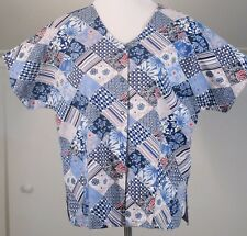Barco Small SS Scrub Jacket Top Shades of Blue Snap-up Cotton Womens S EUC
