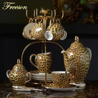 Coffee Set Luxury Porcelain Tea Set Advanced Pot Cup Leopard Print Bone Ceramic