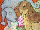 ACEO LE Mini PRINT BEDLINGTON TERRIER with Ice Cream 2.5 x 3.5  Dog Trading Card