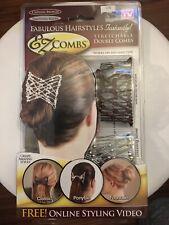 EZ Combs Caramel Bronze/Dazzling Silver Double Hair Combs As Seen On TV New NIB