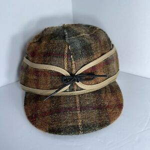Stormy Kromer Original Cap Hat 7 1/4 Wool Pidgeon Plaid Green Brown USA Lined