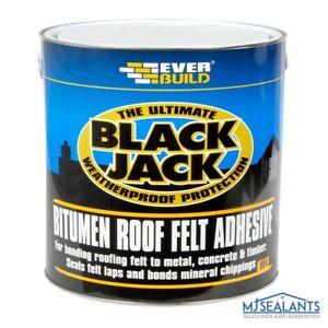Everbuild Black Jack 904 Bitumen Roof Felt Adhesive 1L Roofing Sealing Repair