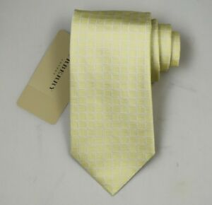 """NEW Burberry YELLOW Check Mans 100% Silk Tie Authentic Italy Made 3.5"""" 0350101"""