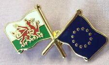 wales and european crossed flag lapel badge friendship welsh euro europe (339)