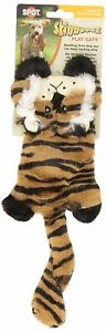 """Spot Ethical Skinneeez Flat Cats 12"""" Striped Tiger Dog Toy Squeaker Stuffingless"""