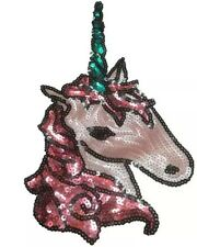 PINK UNICORN HORSE PONY SEW ON SEQUINS APPLIQUÉ PATCH MOTIF SPARKLY CUSTOMISE
