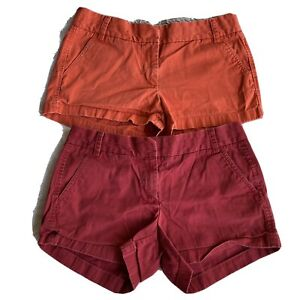 J.Crew Chino Shorts Size 8 Red & Peach Bundle Of Two Women's Summer Worn In