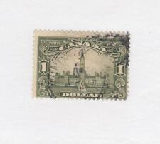 CANADA # 159  F-USED $1  1929 PARLIAMENT BUILDING /OLIVE GREEN CAT VALUE $60