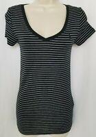 Ralph Lauren Sport Womens Black White Stripe V-Neck Short Slv T-Shirt Small NWT