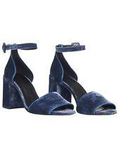 Whistles HEDDA VELVET BLOCK HEELs SANDAL Leather Size 7 Rrp £169 Blue