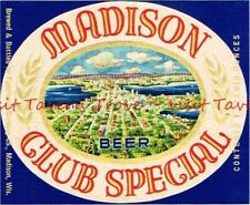 1950s WISCONSIN Madison MADISON CLUB SPECIAL BEER 12oz Label Tavern Trove